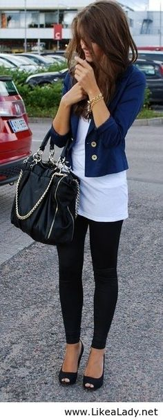 Black Leggins, Simple Long White Tee, Navy Jacket