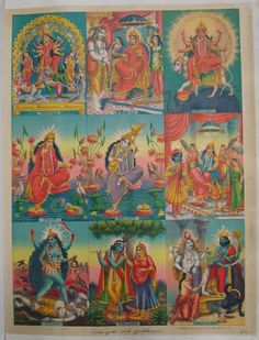 Album of popular prints mounted on cloth pages. Colour lithograph, lettered, inscribed and numbered 42. The print is divided into nine separate images, each one a depiction of a god or goddess, including, Durga, Jagadhatri, Saraswati, Kali, Krishna and Radha. Each image includes a short Bengali inscription identifying the image. India,West Bengal,Calcutta 1895