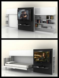 """The Poppi Theatre is a horizontally opening single space saving wall bed system beside a book/media shelf with a large sliding door designed to mount a flat screen TV (up to 42""""). This door slides in front of the closed bed in the daytime configuration and then in front of the shelves at night. Contact us at the LA Showroom 323.655.0115 for more information!"""