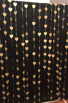 Gold hearts photo booth backdrop and wedding curtain ceremony. #photobooth