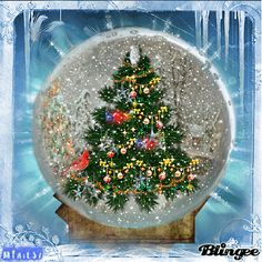 Backgrounds Animated Christmas Snow Globes | Christmas snow globe Picture #119095716 | Blingee.com