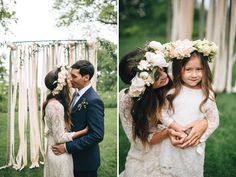 great flower girl - oversized flower crown and lace, hair done just like the bride
