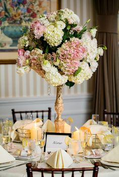 #Centerpiece  #hydrangea and peonies www.ModernWeddingPhotography.tv #Flowers by Open House Country Flowers #Bellport Country Club Wedding #Modern Wedding Photography # Saint James Roman Catholic Church