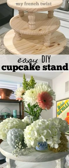 tiered cupcake stand - My French Twist Diy Home Crafts, Cute Crafts, Diy Craft Projects, Diy Home Decor, Crafts For Kids, Craft Ideas, Wood Crafts, Diy Ideas, Party Ideas