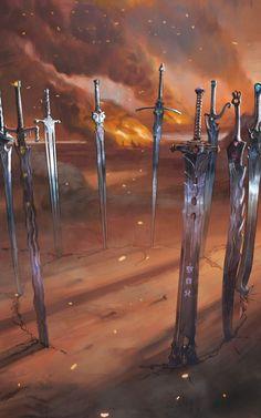 Fantasy Sword, Fantasy Weapons, Fantasy Rpg, Fantasy Concept Art, Weapon Concept Art, Fantasy Artwork, Fantasy Art Landscapes, Fantasy Landscape, High Fantasy