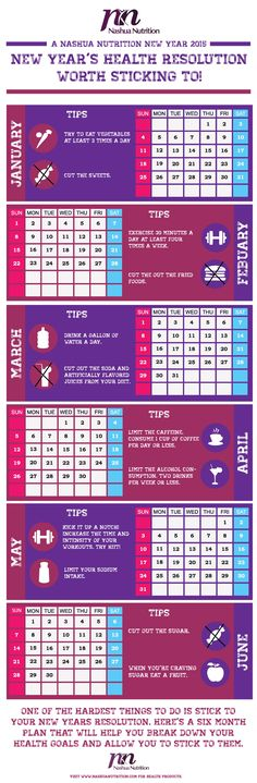 New Year's Resolution Plan! Check out this six month calendar plan of clean eating! Taking your health goals step-by-step will help you stay on track and eat healthy. Cut the sugar, limit the sodium intake, eat a fruit, drink lots of water, and exercise. #weightloss #healthcalendar #newyear #newyearsresolution