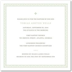 Baptism, Christening Invitations Delicate Border - Front : Pistachio
