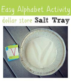 Learn to write with this salt tray. She made it with stuff from the dollar store - perfect if you want to keep it set up in a class or playroom. Great for young kids learning to write and recognize! Teaching Letters, Preschool Letters, Learning The Alphabet, Learning To Write, Alphabet Activities, Preschool Learning, Literacy Activities, Fun Learning, Writing Letters