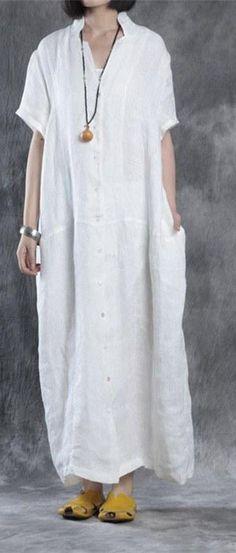 82eb2c5aeeb Bohemian linen Robes Omychic Women summer loose fit retro linen maxi dress