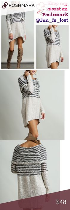 """❌SOLD BUNDLED❌  Off the Shoulder Sweater Off the Shoulder Sweater  Off the shoulder knit sweater or sweater dress.  Pair with your favorite leggings or wear with boots. This is definitely a winter must have in your closet. Color is a Charcoal/Cream.  Material is a cotton 55% and polyester 45%. Fit is for women's sizes Small = 2-4, Medium = 6-8, Large = 10-12.   Large measures 34 1/2"""" long. Medium  33 1/2"""" long.   Small  32 1/2 long"""".  🚫TRADES🚫 ✅Reasonable Offers Are Considered✅ Use the…"""