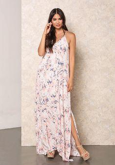 Pink Gauze Floral Slit Maxi Dress - New Arrivals