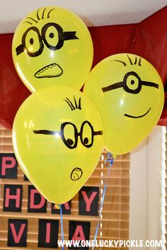 Minion Birthday Party Ideas: DIY Minion Balloons by One Lucky Pickle