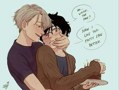 on Ice - Viktor Nikiforov x Yuuri Katsuki - Victuuri Manga Anime, Anime Demon, Anime Guys, Yuri On Ice Comic, Ai No Kusabi, Yuri!!! On Ice, Katsuki Yuri, Drarry, Anime Ships
