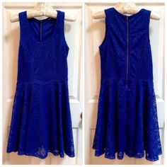 "Cobalt Eyelet Zipper Dress Adorable cobalt blue eyelet fit and flare dress from Express. Fully lined, and has nice back zipper detail. I bought this because it reminded me of Anthropologie dresses in terms of style and quality - only issue is that it's pretty short on me . Approx. 34"" and worn once. *No trades / No PP / 15% off bundles* Express Dresses"