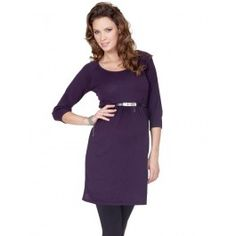 Plum+Knitted+Round+Neck+Maternity+Tunic