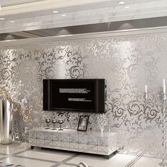 Amusing Silver Living Room Furniture Aliexpress Buy Non Woven European Wallpaper Flowers Embossed