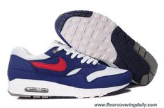Mens Nike Air Max 1 308866-110 White Gym Red Thunder Blue Medium Grey Outlet