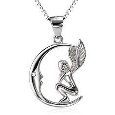 925 Sterling Silver Fairy with Angel Wings Face to Moon Pendant Necklace For #SILVERMOUNTAIN