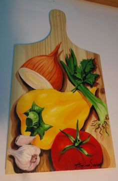 China Painting, Tole Painting, Fabric Painting, Painting On Wood, Wood Crafts, Diy And Crafts, Decoupage, Vegetable Painting, Tea Art
