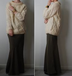 Big sweater and long skirt