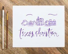 Items similar to Texas Christian University - TCU - Watercolor Painting - Print - Perfect Holiday Gift! on Etsy College Room, College Life, University Dorms, Texas Forever, Dream School, Colleges, Lettering Ideas, Crafty, Cubicle