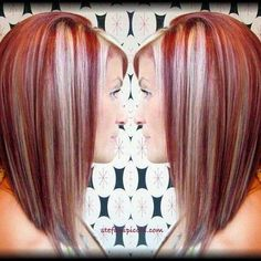 Red hair with blonde highlights... not sure with olive skin color if would go..but luv it!!! :)