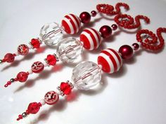Deluxe Beaded Icicle Ornaments in Bright Red on Beaded Spiral Ornament Hangers - 3 Christmas Red & Clear Beaded Icicle Christmas Ornaments - dekoration Beaded Christmas Decorations, Christmas Ornaments To Make, Snowflake Ornaments, Beaded Ornaments, Christmas Jewelry, Xmas Crafts, Diy Ornaments, Ornament Hooks, Beads And Wire
