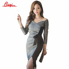 Cheap pencil dress pattern, Buy Quality pencil dress directly from China dress pencil Suppliers:             Qiqi New 2016 Autumn Plaid Patchwork Dress Business Work V-neck Sexy Bow Tunic Bodycon Sheath Ca