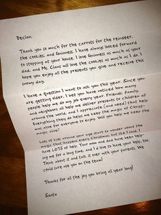Letter from Santa for Tweens. Hopefully I won't need it for many years!