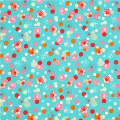 turquoise cherry blossom flower fabric by Robert Kaufman USA