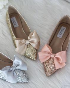 6b991c91a8d3 Women Glitter Shoes - ROSE GOLD Pointy Toe Rock Glitter Flats with Satin  Bow