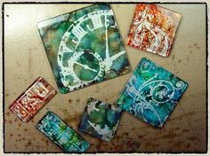 Create negative images on fragment charms using alcohol inks and archival inks by Tim Holtz