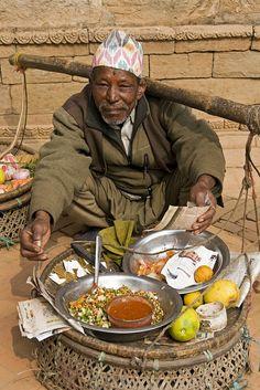 Selling snacks Kathmandu