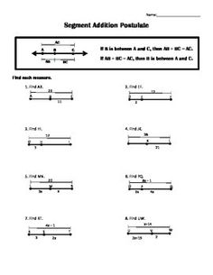 check out this item - Segment Addition Postulate Worksheet