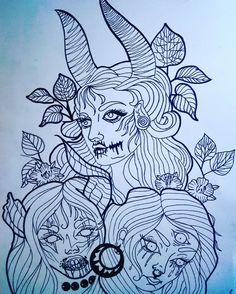 #newschool #demon #vampire #forest #drawing #tattoo