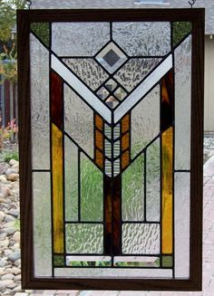 I handcrafted this stained glass window in the Mission Prairie style. In remaining true to the Prairie style of Frank Lloyd Wright I used clear Stained Glass Quilt, Stained Glass Designs, Stained Glass Panels, Stained Glass Projects, Stained Glass Patterns, Mosaic Glass, Fused Glass, Leaded Glass Windows, Mosaic Windows