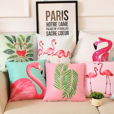 Cheap cushion cover, Buy Quality leaf cushion cover directly from China leaf cushion Suppliers: Summer Palm Leaf Cushion Cover Flamingo Birds Soft Pillow Covers Tropical Plant Pillow Case 40X40cm Bedroom Sofa Decoration