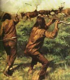 Jagers gebruiken de speerwerper. Met dit houten verlengstuk konden jagers een speer over een langere afstand werpen en met meer kracht. Een handige uitvinding!
