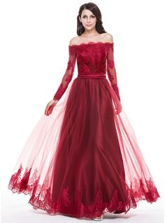 A-Line/Princess Off-the-Shoulder Floor-Length Tulle Evening Dress With Appliques Lace (017056093) - JJsHouse