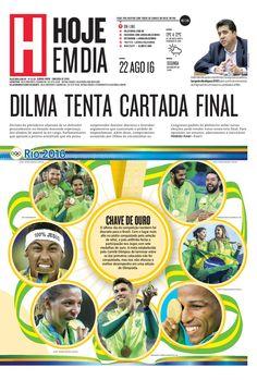 Capa do dia 22/08/2016 #HojeEmDia #Jornal #Notícias #News #Newspaper