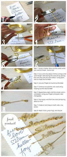 DIY Wire Word Art Bracelet Jewelry DIY Blog
