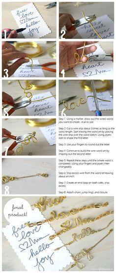 DIY Wire Word Art Bracelet Jewelry DIY Blog