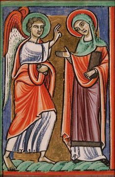 Hague,KB, 76 F France.The Annunciation: Gabriel announces Christ's birth to © Koninklijke Bibliotheek National Library of the Netherlands. Religious Icons, Religious Art, Medieval Paintings, French Paintings, Garden Of Earthly Delights, Early Christian, Medieval Art, Mother Mary, 14th Century
