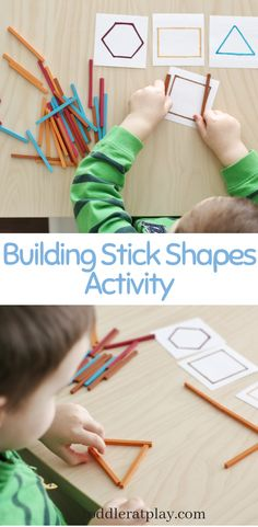 This Building Stick Shapes Activity is yet another super easy and quick to set-up activity that will literally require less than 5 minutes of prep and only a few basic materials. Indoor Activities For Toddlers, Preschool Learning Activities, Color Activities, Preschool Math, Preschool Ideas, Teaching Shapes, Building For Kids, Super Easy, Montessori Classroom