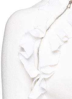3.1 Phillip Lim | Ruffle zip trim dense knit sweater