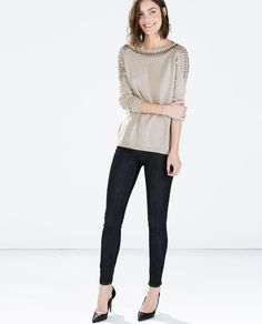 Image 1 of SWEATER WITH EMBELLISHED SHOULDERS from Zara $79