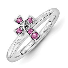 Sterling Silver Rhodolite Garnet Birthstone Stackable Cross Ring Band Available Exclusively at Gemologica.com stackable birthstone rings, stacking diamond rings, silver stack rings, stackable engagement rings FINE JEWELRY AT GEMOLOGICA.COM
