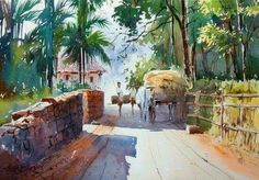 Watercolor Canvas, Watercolor Landscape, Watercolor And Ink, Landscape Art, Watercolor Paintings, India Painting, India Art, Amazing Drawings, Dance Pictures