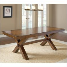 Hillsdale Park Avenue Trestle Table in Dark Cherry - 4692DTB