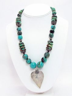 Turquoise Necklace with Silver Leaf Pendant T26 by daksdesigns